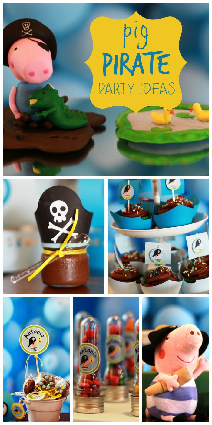 A pirate birthday with fun party decorations for a little boy who loves pigs!  See more party ideas at CatchMyParty.com!
