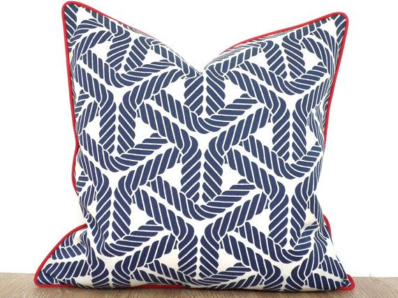 Check Out Blue Outdoor Pillow Cover Nautical Theme, Blue And Red Outdoor  Cushion Modern Outdoor