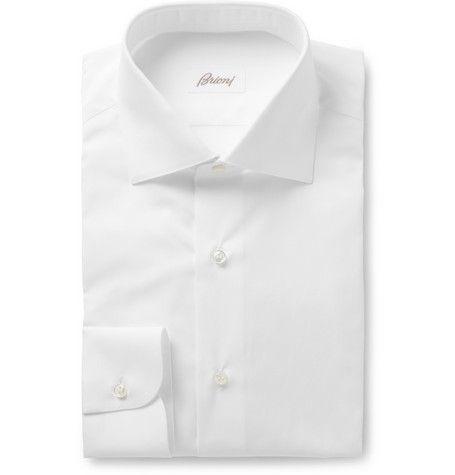 Brioni White Cotton Shirt | MR PORTER