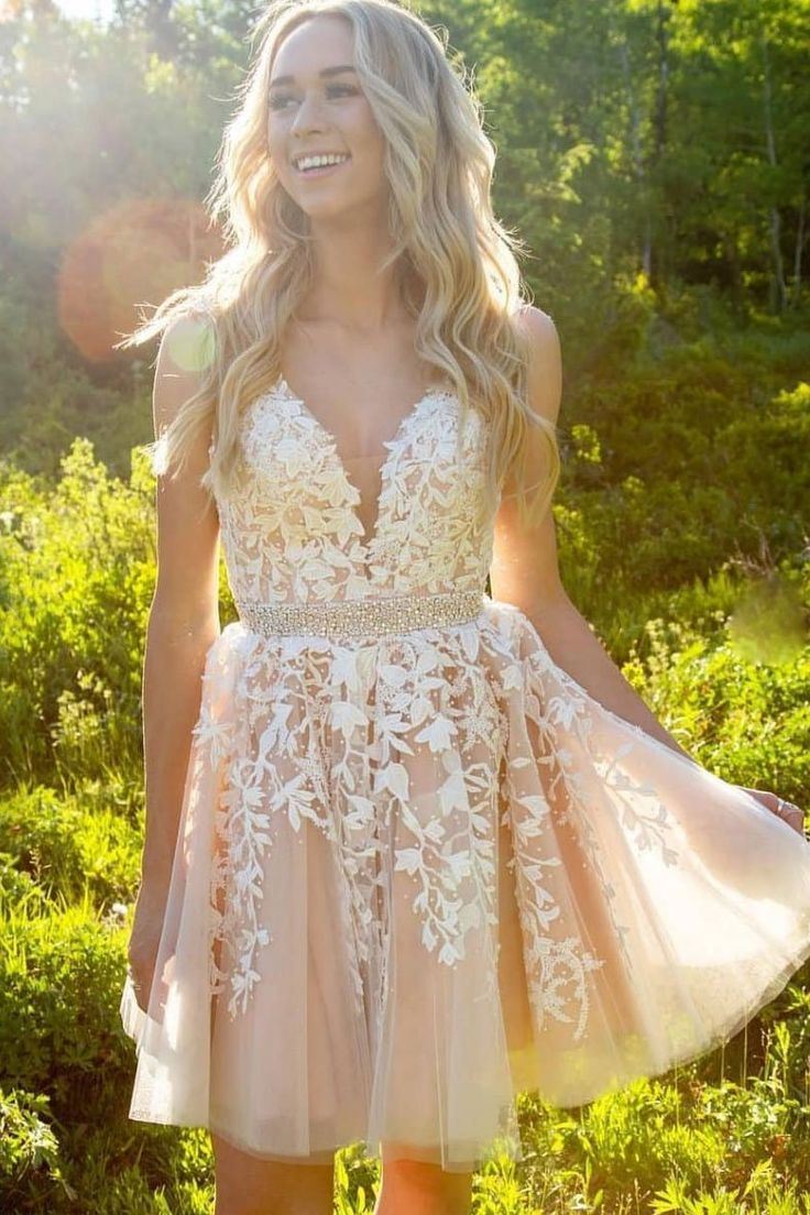 Cute champagne lace homecoming dress,a-line tulle short prom dress