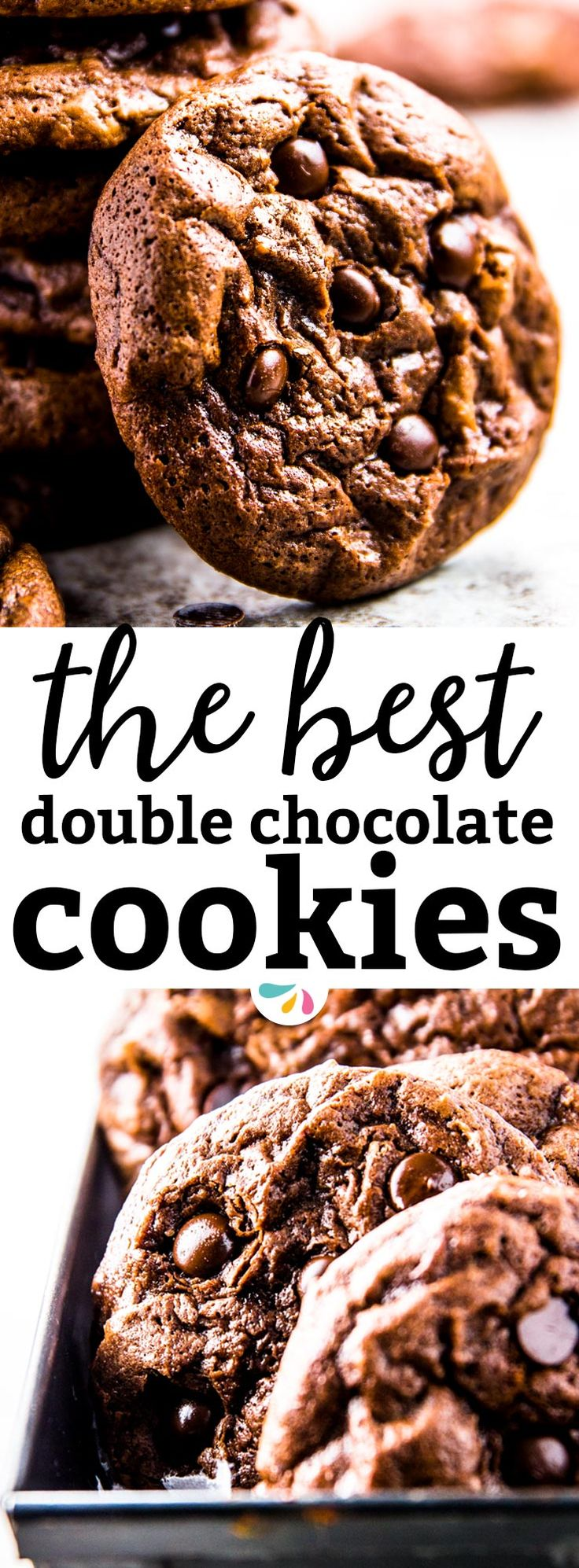 These are the best Double Chocolate Cookies you will ever eat. Fudgey, gooey and absolutely never cakey - delicious! The cookie dough is very easy to make with a special melt and mix technique that guarantees the fudgiest cookie possible. Try them today - they won't disappoint! And they're the perfect treat for Valentine's Day - even kids can make them! | #valentinesday #chocolate #cookies #baking #recipe #easyrecipes #recipes