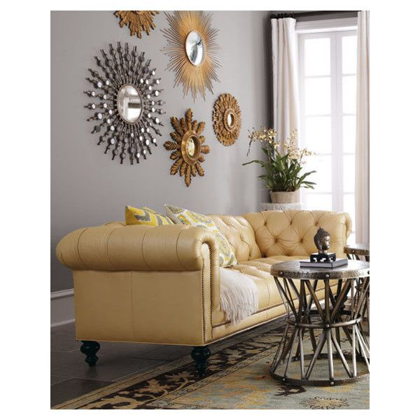 Old Hickory Tannery Leather Sofa by Morgan Sunshine TuftedLight Yellow (195.790 RUB) ❤ liked on Polyvore featuring home, furniture, sofas, tufted leather furniture, handcrafted furniture, old hickory tannery, colored leather sofas and yellow leather furniture