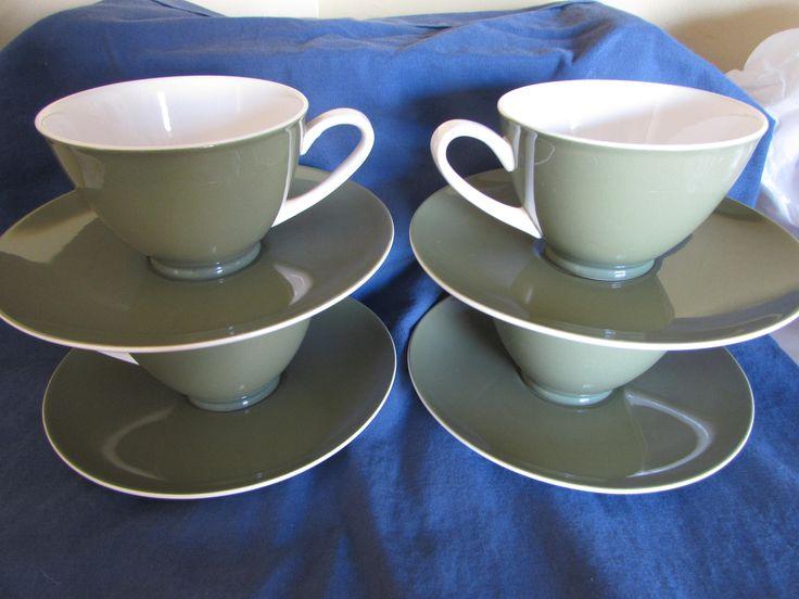 Kokura Ware Japan - Olive Green and White Tea Cups and Saucers- Iron Stone - Japan - Olive green tea mugs - Olive green Kokura Ware by mimishomefashions on Etsy