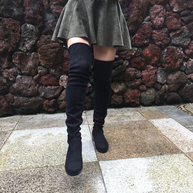 여성 스트레치 스웨이드 무릎 부츠 평면 높은 부츠 허벅지 섹시한 패션 플러스 사이즈 신발 여성 2016 블랙 그레이 Winered 누드