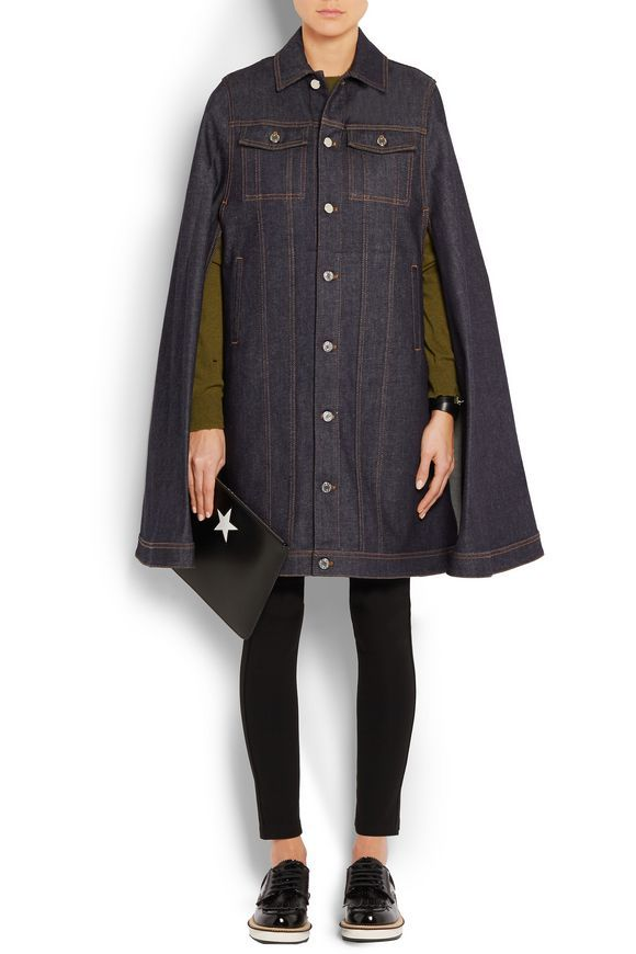 Cape in dark-blue denim | GIVENCHY | Sale up to 70% off | THE OUTNET