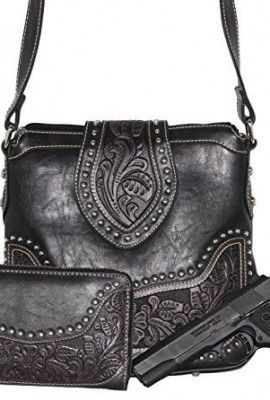 Concealed-Carry-Tooled-Messenger-Purse-and-Wallet-Concealment-Weapon-Gun-Bag-Tooled-Crossbody-Bag-with-Matching-Wallet-by-Montana-West-0