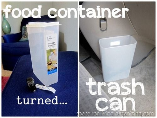 Simply DIY car trash can. I like the idea of velcro to keep it upright. Update - tried this and it failed miserably. :-(