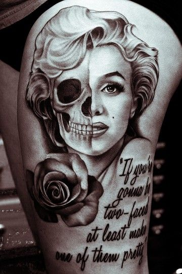 Marilyn monroe tattoo but with color red rose and lips for Marilyn monroe skull tattoos