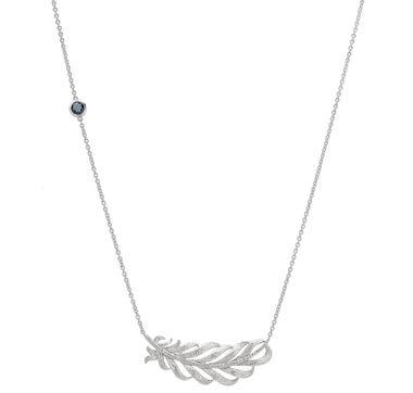 Sterling Silver Rhodium Plate White Zircon & Blue Topaz Feather Design Necklace