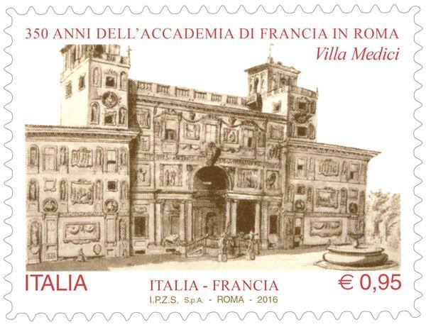 Francobolli celebrativi dell'Accademia di Francia in Roma, nel 350° anniversario della fondazione (emissione congiunta con la Francia) e del 60° Anniversario del patto di gemellaggio tra le città di Roma e Parigi
