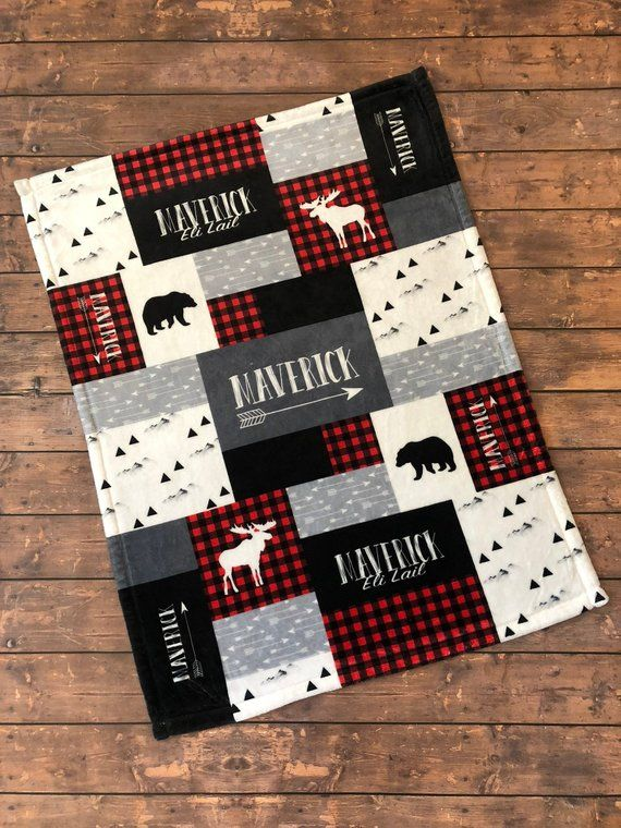 Personalized Baby Blanket Quilt Print Newborn Swaddle Red And Black Woodland Adventure Little Man Buffalo Plaid Bear Moose Boys Quilt Patterns Baby Boy Quilt Patterns Baby Boy Quilts