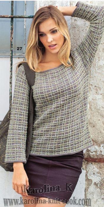 Пуловер с узором из снятых петель.