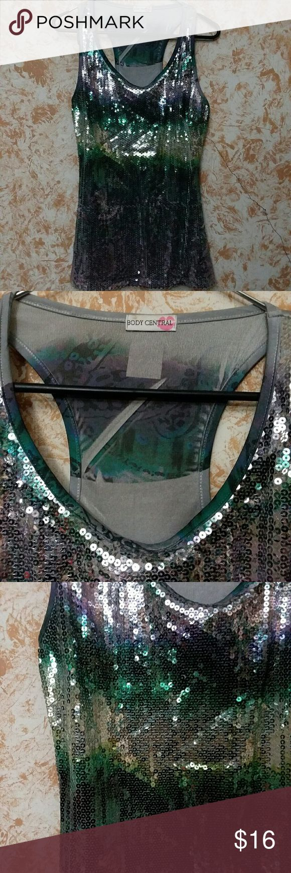 ☆ Sequin Party Tank ☆ EUC.  Body Central sequin tank.  Great for adding some bling to an outfit. Body Central Tops Tank Tops