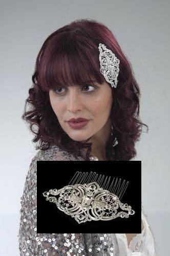 Crystal wedding comb 1930s 1940s swirl wedding bridal crystal diamante hair comb Art Deco style vintage wedding hair accessories