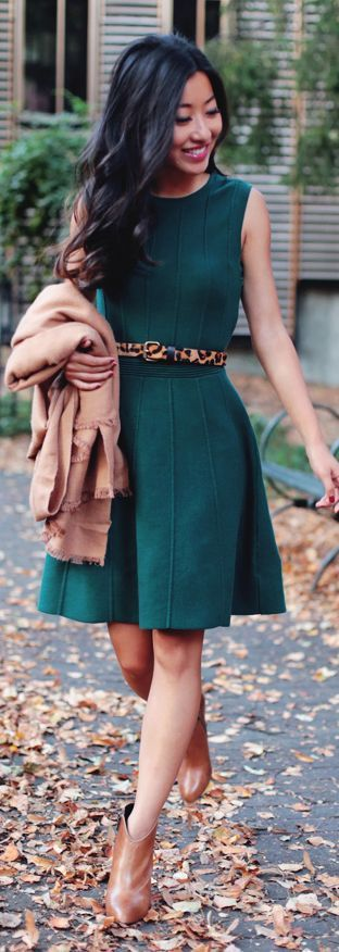 Love the color and style of this dress. Jade Green Little Dress Fall Inspo by Extra Petite
