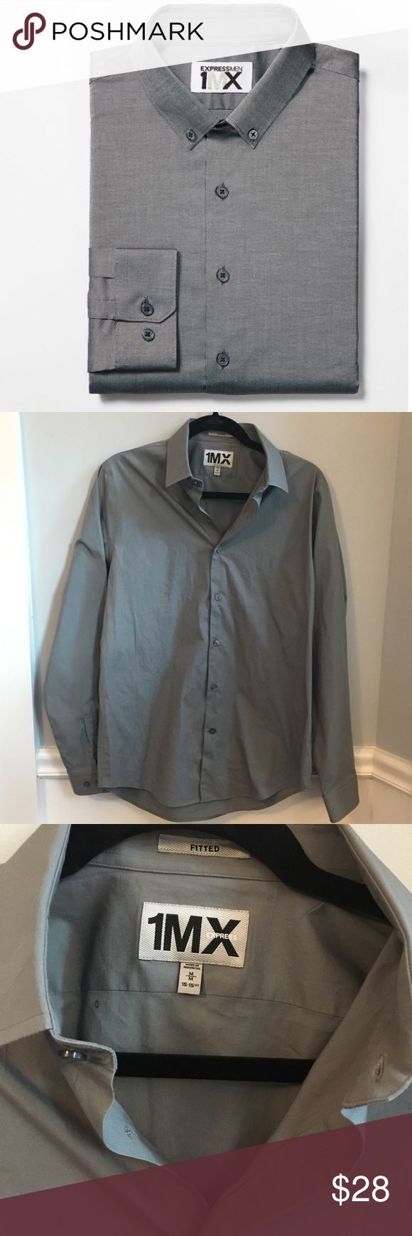 "1MX Express Men's Gray Buttondown Dress Shirt M Fitted Medium men's grey non iron shirt by Express.  Excellent preloved condition. No issues to note. Stock photos for price and style reference only. Pls feel free to make a reasonable offer! Retails for $70 Sleeve 26.5"" armpit to armpit about 21"" Express Shirts Dress Shirts"