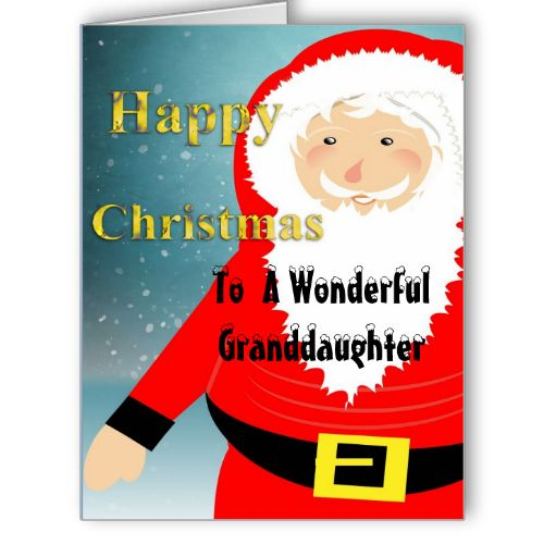 A cute Santa Claus in the snow, on special Happy Christmas Granddaughter cards, Happy Christmas to a Wonderful Granddaughter. #santa #santa-claus #father-christmas #red #white #snow #jolly #happy #granddaughter #happy-christmas-granddaughter #from-grandparents #special-cards #relations-cards
