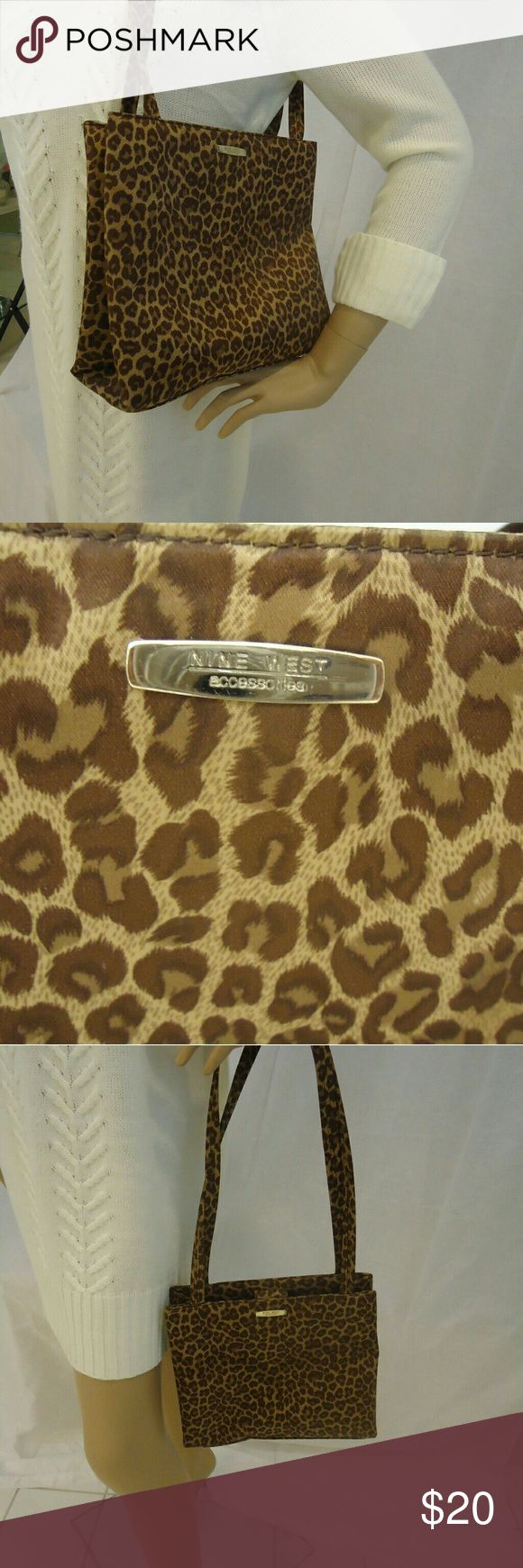 "Nine West Cheetah Purse Animal Print Shoulder Bag Nine West Cheetah Bag 9.25"" High  7"" Deep 10"" Long 14"" Strap Drop Nine West Bags Shoulder Bags"
