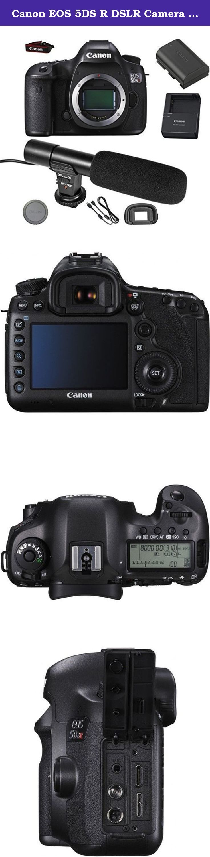 Canon EOS 5DS R DSLR Camera (Body Only) + On-Camera Shotgun Microphone - International Version. This GracePhotoNY bundle includes : Canon EOS 5DS-R DSLR Camera (Body Only) On-Camera Shotgun Microphone LC-E6 Charger for LP-E6 Battery Pack LP-E6N Lithium-Ion Battery Pack (7.2V, 1865mAh) RF-3 Body Cap for Canon EOS Cameras Eyecup Ef for Digital Rebel Cameras EW-300D Wide Strap Interface Cable EOS Digital Solution Disk .