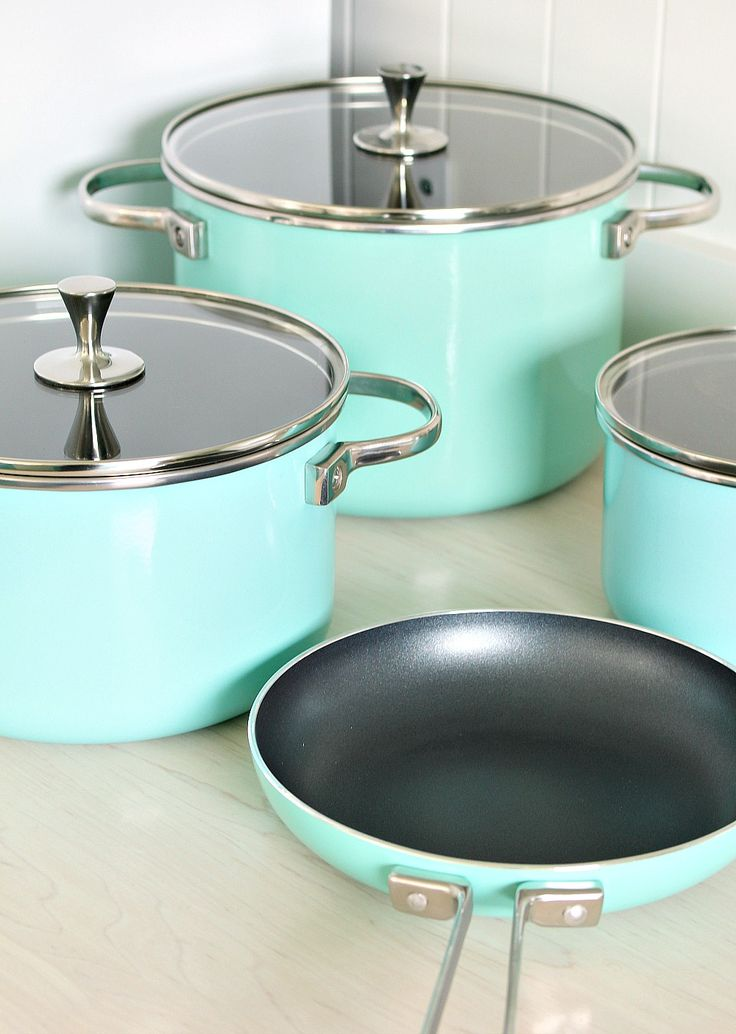Kate Spade Turquoise Pots and Pans from the All in Good Taste Collection - Love the non-stick coating!