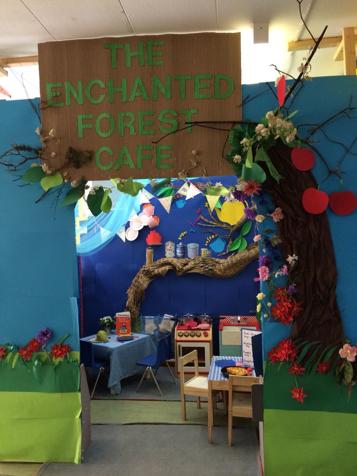 The enchanted forest cafe fairytales role play area- all the characters can come for lunch!