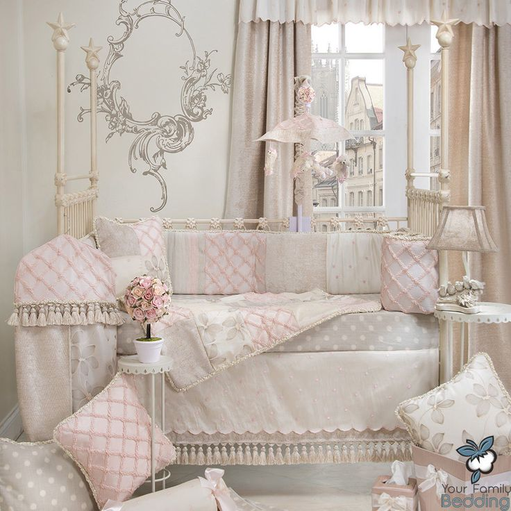 Baby Girl Pink Grey Shabby Chic Luxury Designer Crib Nursery Quilt Bedding Set #GlennaJean