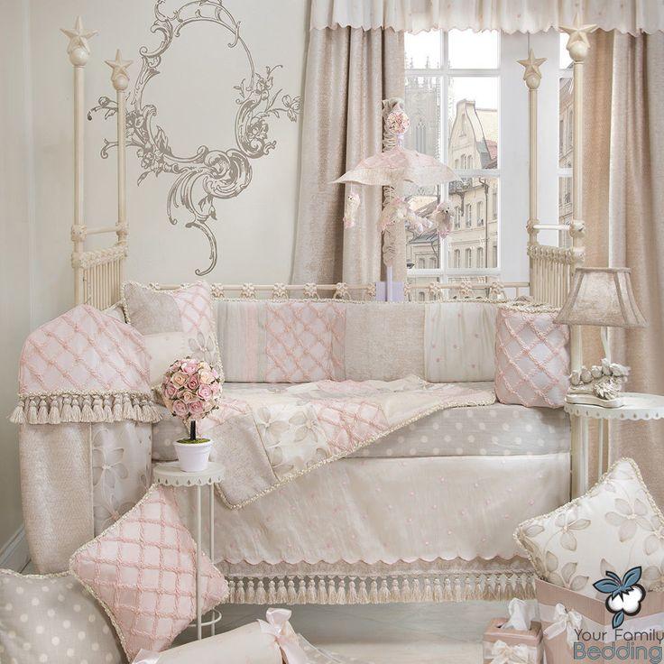 baby girl pink grey shabby chic luxury designer crib nursery quilt bedding set glennajean