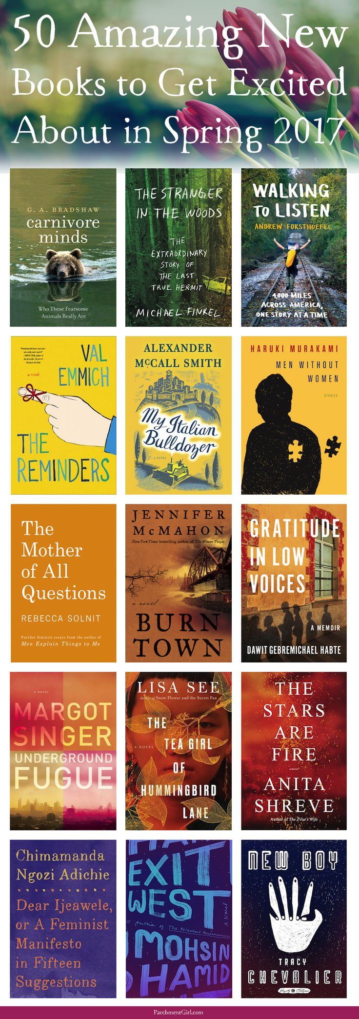 53 Amazing New Books to Look Forward to This Spring by Joan Didion, David McCullough, Lisa See, Anita Shreve, Elizabeth Strout, Paula Hawkins, Chimamanda Ngozi Adichie, + more! via @ParchmentGirl
