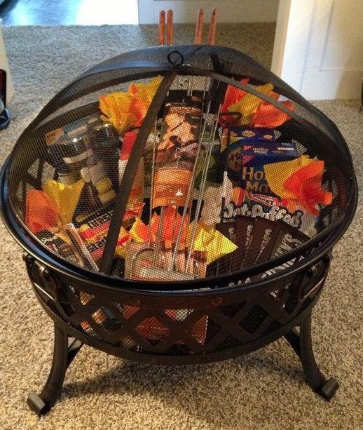 13 Themed Gift Basket Ideas for Women, Men and Families, love the fire pit one! Gift basket Ideas #giftbasketideas #giftbaskets