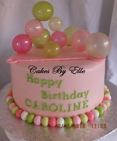 Birthday Cakes - MY very 1st gelatin bubbles :) so much fun to make!!! Butter cream finish.