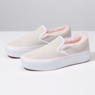 abb2d34ccec The Suede Fur Classic Slip-On Platform features sturdy low profile slip-on  suede uppers