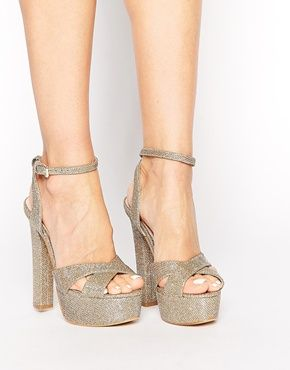Lipsy Verity Gold Sparke Platform Sandals