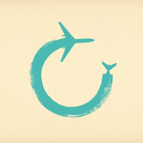 "I find this interesting because it could be used as a logo for an airline because I see the letter ""C' within the airplane. Not the colors I would use, but I think this is creative. Good way to mix type and illustration."