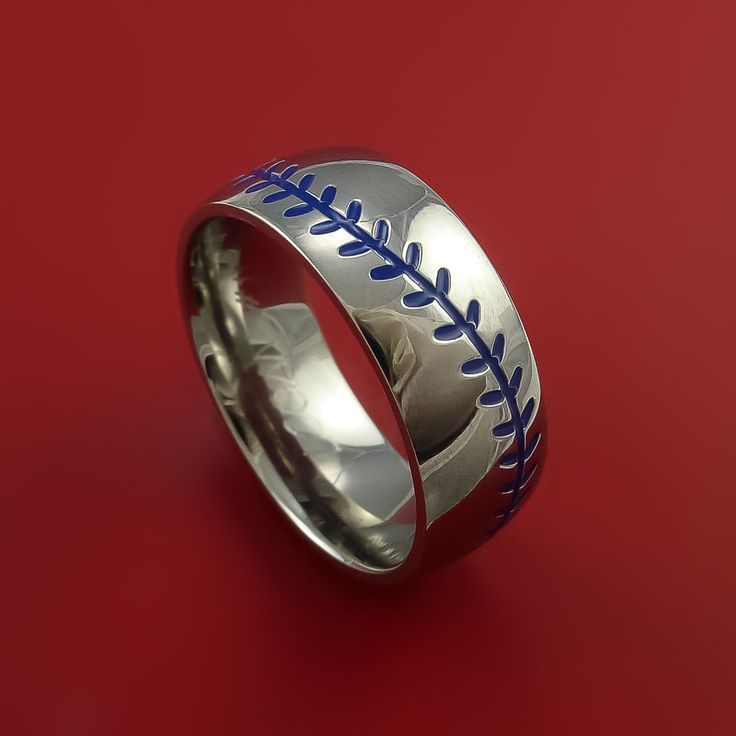 Titanium Baseball Ring with Blue Stitching Fan Band Any Size and Color Red, Green, Blue Inlay