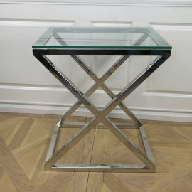Beistelltisch Lorana Ein Tisch, der sich hervorragend und dekorativ in Ihr Wohnambiente integrieren lässt. Die klassische X-Form bietet einen stabilen Stand und ein zeitloses Design. – Größe : ca. L 62 x H 72 x 42 cm  – Rahmenstärke : ca. 3 cm