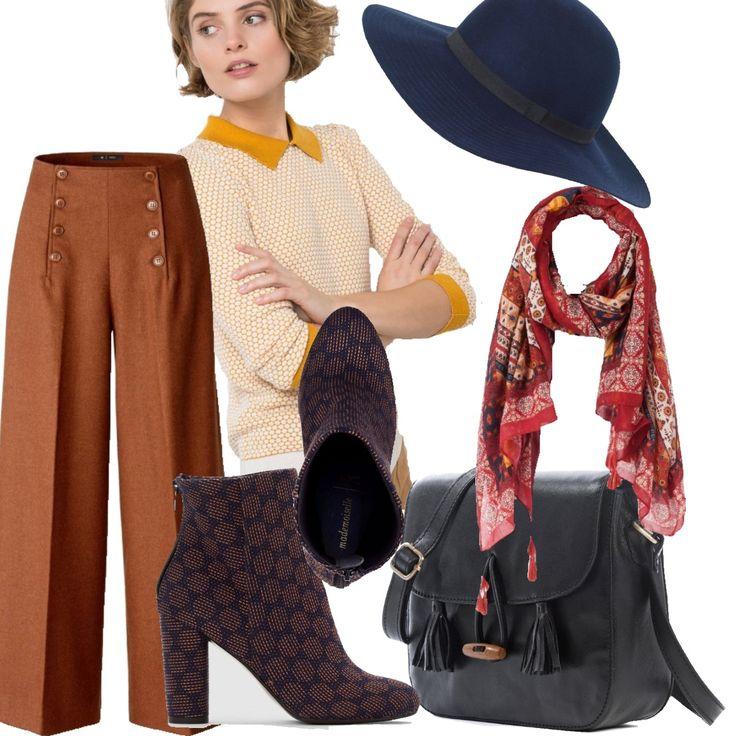 Parigi mon amour, un look tutto francese!Un pantalone a gamba svasata ci ispira passeggiate lungo la Champs Elysee in una soleggiata mattina di Autunno; il pull sottile con colletto e polsi a contrasto è arricchito da una sciarpa con frange e borsa in pelle blu stile vintage . A completare l'outfit il cappello a falde larghe e caldi bouts in tessuto a nido d'ape che richiamano la fantasia dell pullover.