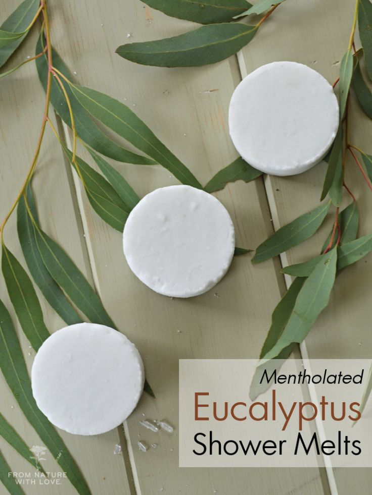 Easy-to-make aromatic fizzing shower melts infused with menthol and eucalyptus.