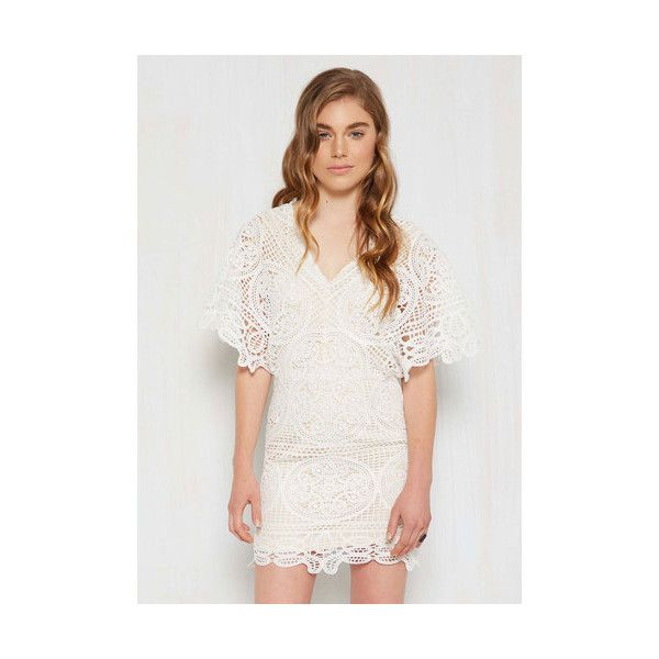 Boho Short Length Short Sleeves Sheath Being Is Believing Dress (3,215 DOP) ❤ liked on Polyvore featuring dresses, apparel, fashion dress, white, short gold dresses, white crochet dress, boho crochet dress, short dresses and white boho dress