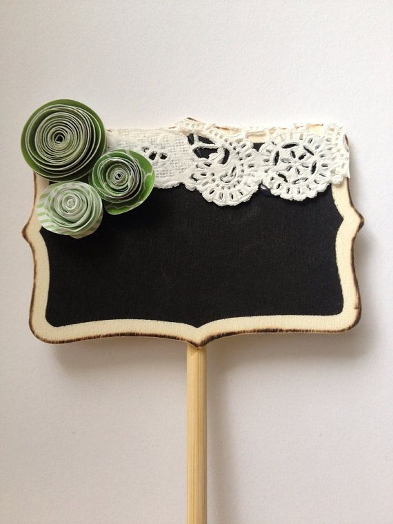 Green & Lace Miniature Chalkboard, wedding table number idea