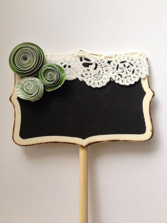 Green & Lace Miniature Chalkboard, wedding table number idea