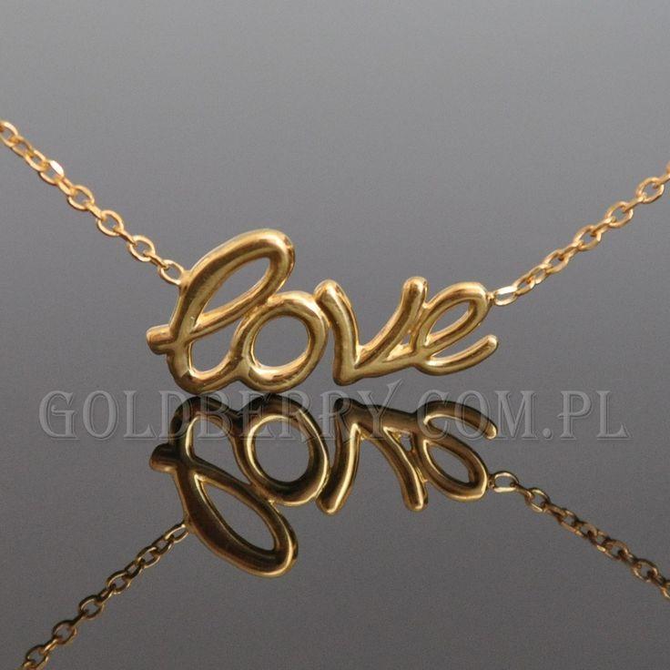 #Pozłacany #naszyjnik z napisem #LOVE ze srebra - piękny minimalistyczny delikatny. Niezastąpiony dodatek do kobiecych kreacji.   Srebrny naszyjnik wysokiej proby 925, pozłacany 24K złotem. Trwała pozłota, która przy odpowiednim użytkowaniu pozwala długo cieszyć się biżuterią. #goldberry