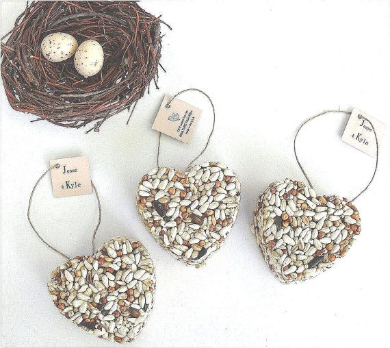 50 Heart Bird Seed Favor - wedding favors, custom favor tags personalized table display sign