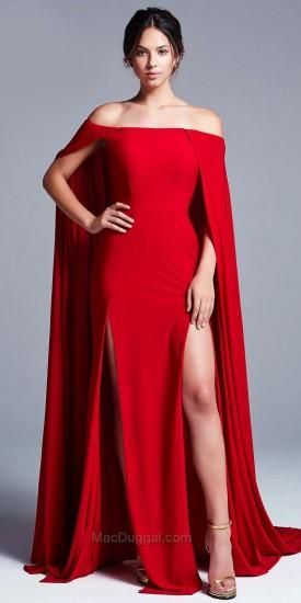 Off the Shoulder Cape Evening Dress by Mac Duggal #edressme