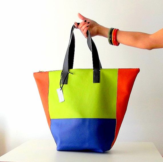 Multi coloured tote bag. Brightly coloured bag / by Independent Designer $110usd worldwide shipping just listed by PittiVintage