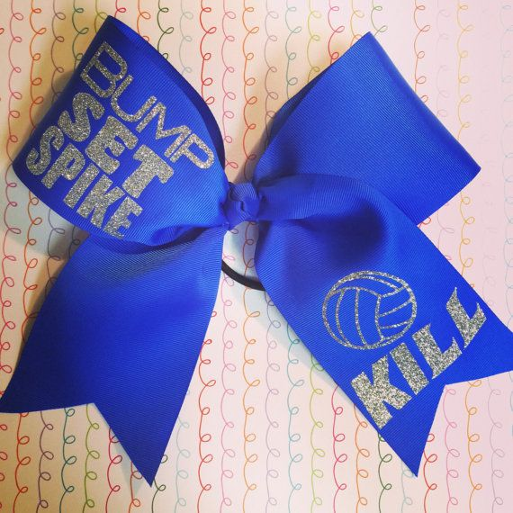 Bump Set Spike Custom volleyball bow by cheerblingbowtique14