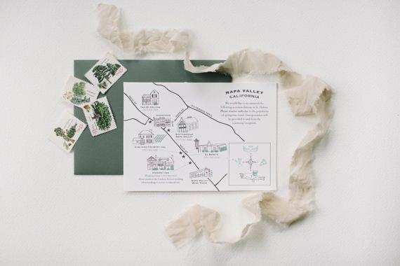 Destination Save the Date map hand drawn custom wedding