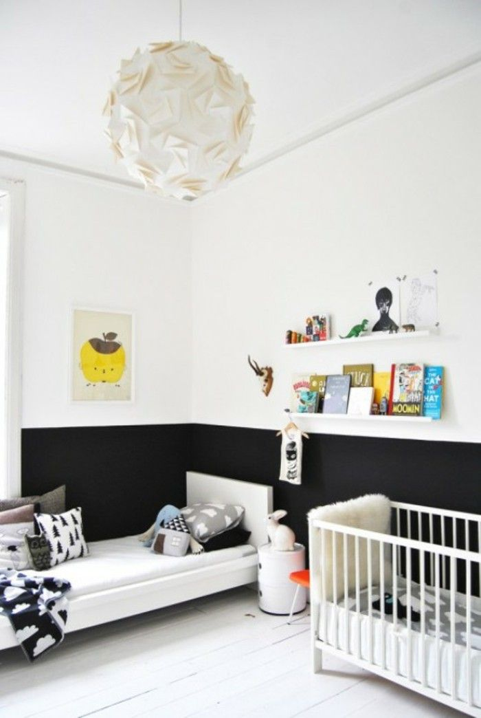 White wall paint nursery black accents Wall shelves chandelier