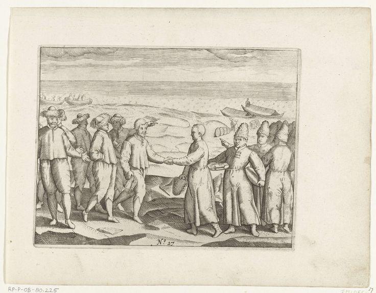 Anonymous | De ontmoeting met de bemanning van twee Russische lodja's, 1597, Anonymous, 1615 - 1617 | De ontmoeting met de bemanning van twee Russische lodja's, 28 juli 1597. De Nederlanders krijgen op de wal voedsel van de Russische zeelieden. Kopieën naar de oorspronkelijke illustraties in het reisverslag van de tocht van Willem Barendsz en Jacob van Heemskerck in 1596-1597 en het verblijf op het eiland Nova Zembla, No. 27.