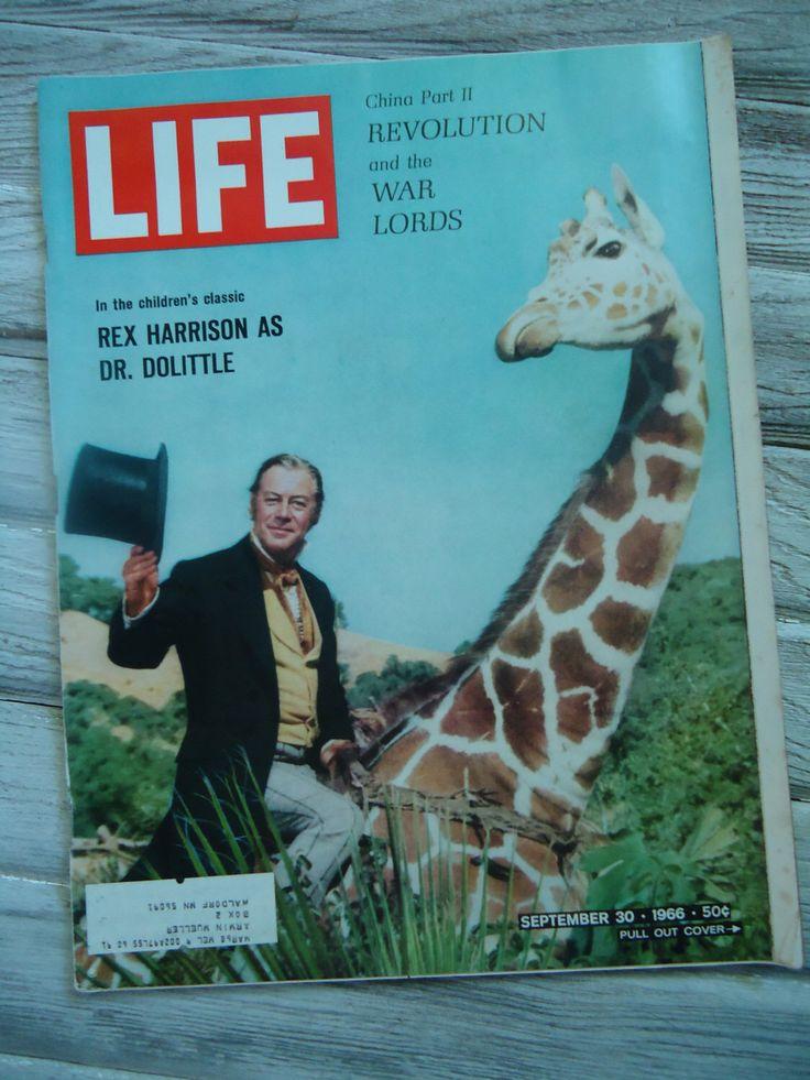 Dr. Dolittle decor - Rex Harrison Life Magazine - Vintage Life Magazine - Retro decor - 1966 Life Magazine - Old magazine - Magazine ads by VinatgeOldSchool on Etsy https://www.etsy.com/listing/459231928/dr-dolittle-decor-rex-harrison-life