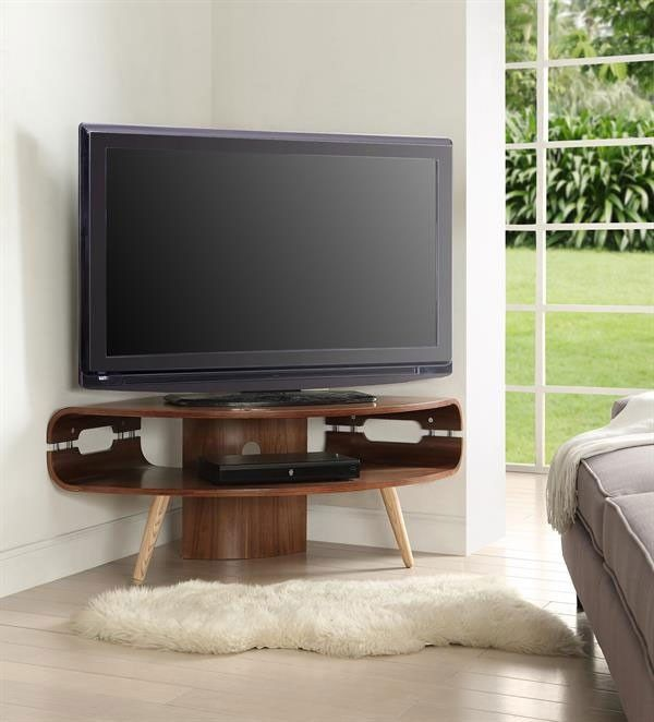 Jual Curve JF701 Walnut Corner TV Stand £300                                                                                                                                                                                 More